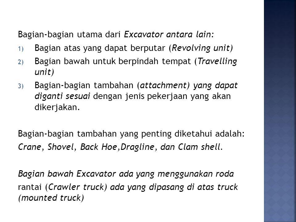 Bagian-bagian utama dari Excavator antara lain: 1) Bagian atas yang dapat berputar (Revolving unit) 2) Bagian bawah untuk berpindah tempat (Travelling unit) 3) Bagian-bagian tambahan (attachment) yang dapat diganti sesuai dengan jenis pekerjaan yang akan dikerjakan.