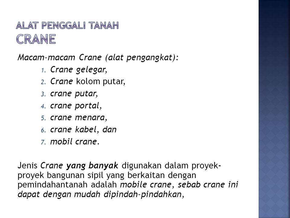 Macam-macam Crane (alat pengangkat): 1. Crane gelegar, 2. Crane kolom putar, 3. crane putar, 4. crane portal, 5. crane menara, 6. crane kabel, dan 7.