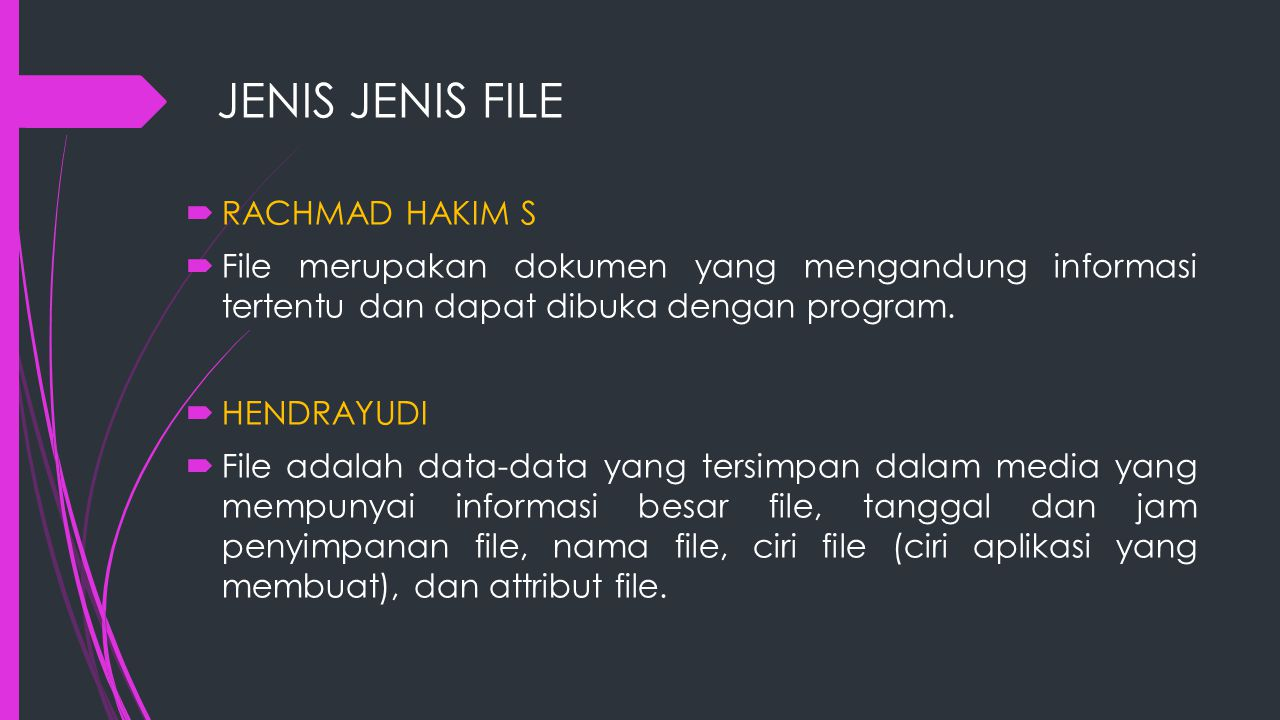 JENIS JENIS FILE  UNIX dan DOS memiliki jenis file :  Regular File : jenis file yang mengandung informasi user.