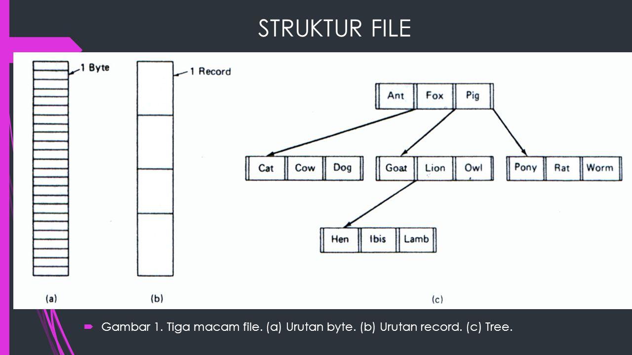 PENGAKSESAN FILE  Sequential Access, proses dapat membaca seluruh byte/record dalam suatu file, mulai dari awal, tidak boleh melompat atau keluar dari urutannya.