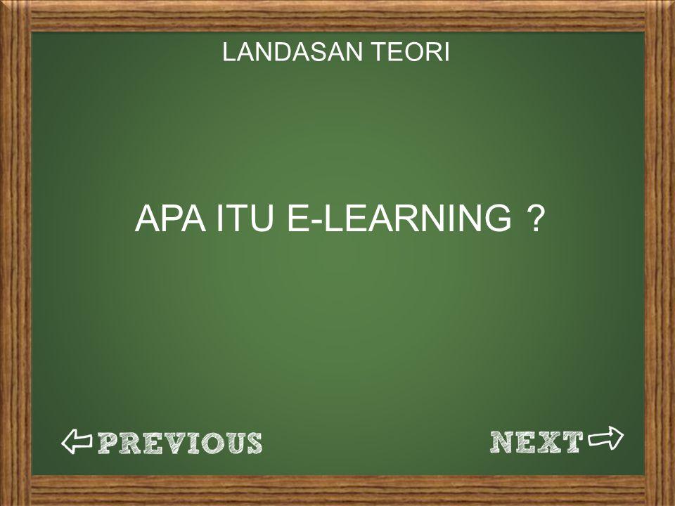 LANDASAN TEORI APA ITU E-LEARNING ?