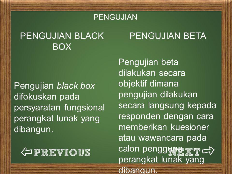 PENGUJIAN BLACK BOX Pengujian black box difokuskan pada persyaratan fungsional perangkat lunak yang dibangun.