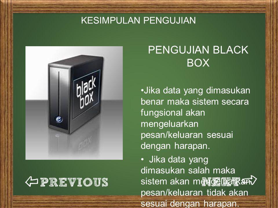 PENGUJIAN BLACK BOX Jika data yang dimasukan benar maka sistem secara fungsional akan mengeluarkan pesan/keluaran sesuai dengan harapan.