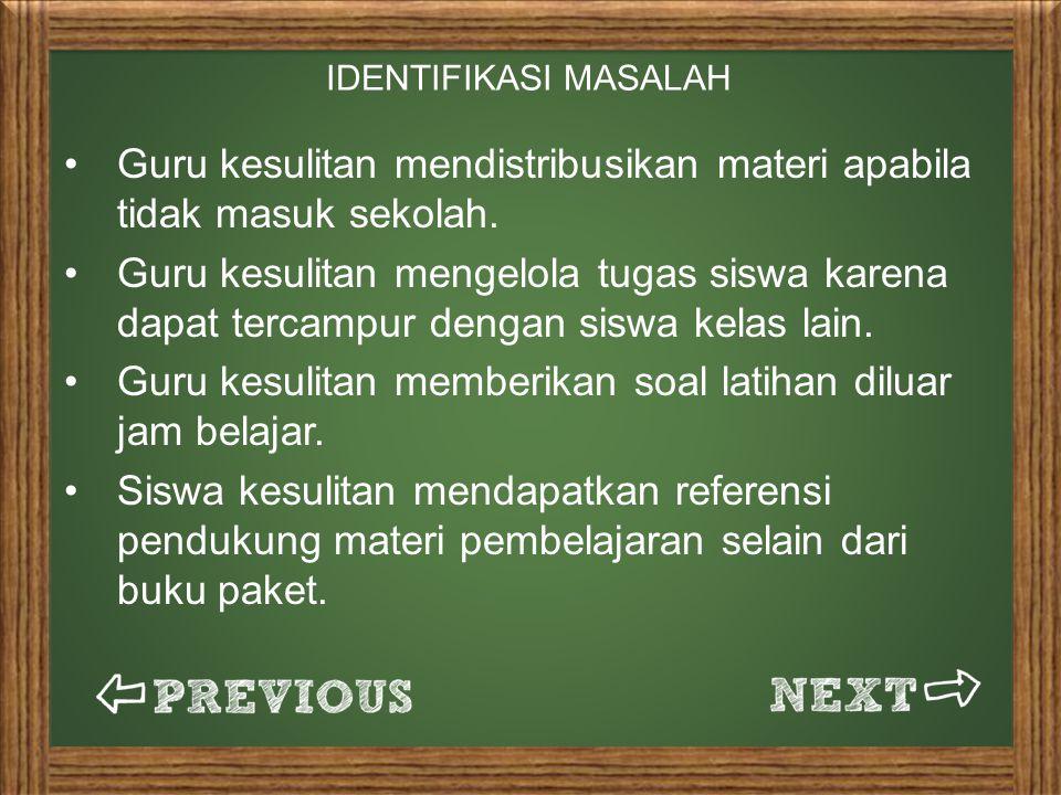 IDENTIFIKASI MASALAH Guru kesulitan mendistribusikan materi apabila tidak masuk sekolah.