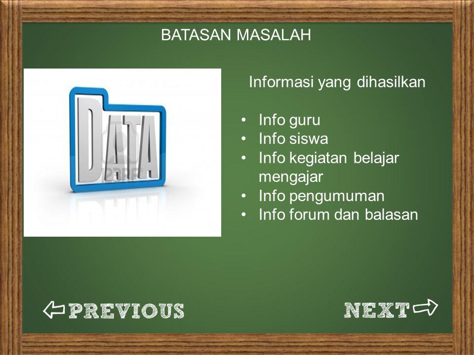 BATASAN MASALAH Informasi yang dihasilkan Info guru Info siswa Info kegiatan belajar mengajar Info pengumuman Info forum dan balasan