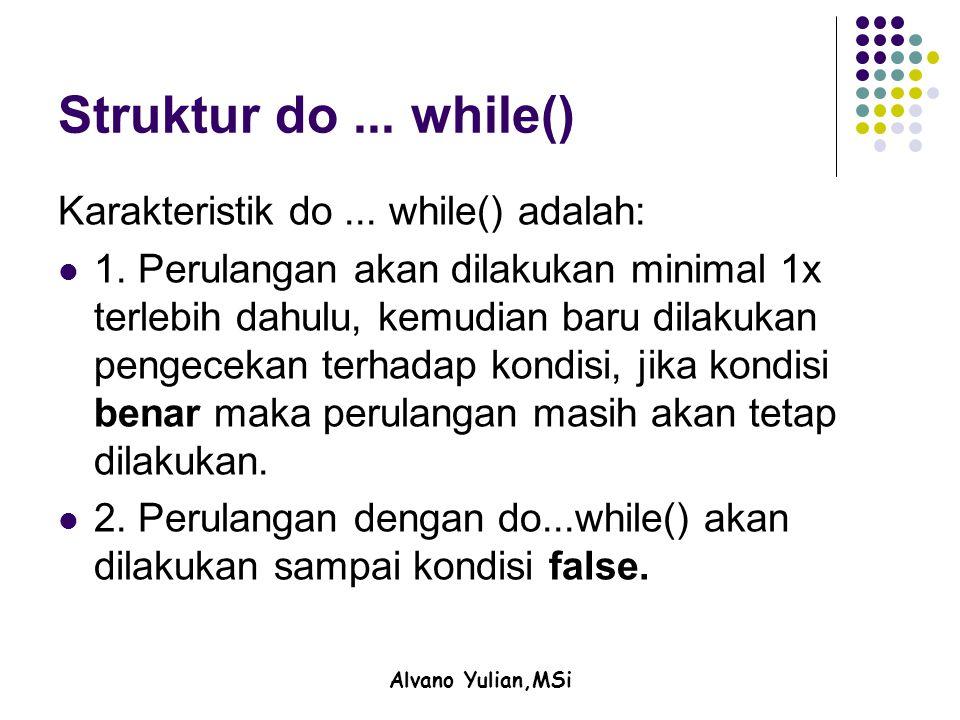 Alvano Yulian,MSi Struktur do... while() Karakteristik do...