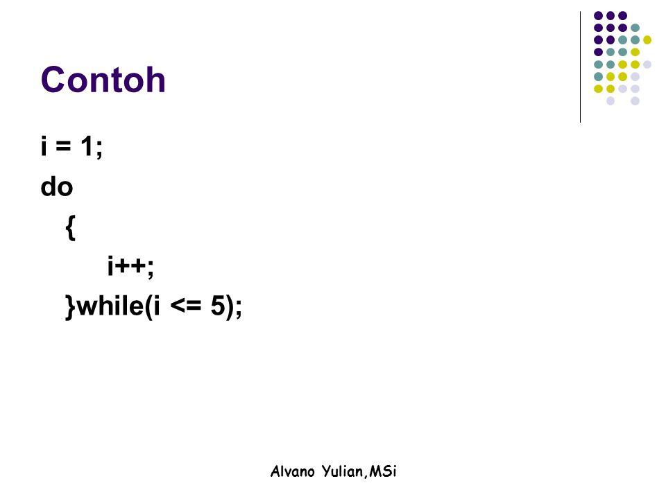 Alvano Yulian,MSi Contoh i = 1; do { i++; }while(i <= 5);
