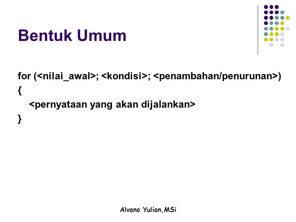 Alvano Yulian,MSi Bentuk Umum for ( ; ; ) { }