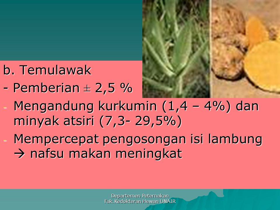 Departemen Peternakan Fak.Kedokteran Hewan UNAIR b. Temulawak - Pemberian ± 2,5 % - Mengandung kurkumin (1,4 – 4%) dan minyak atsiri (7,3- 29,5%) - Me