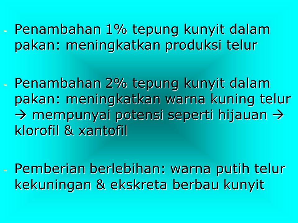 Departemen Peternakan Fak.Kedokteran Hewan UNAIR - Penambahan 1% tepung kunyit dalam pakan: meningkatkan produksi telur - Penambahan 2% tepung kunyit