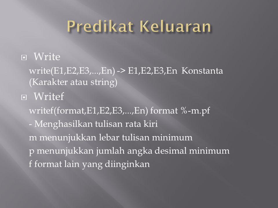  Write write(E1,E2,E3,...,En) -> E1,E2,E3,En Konstanta (Karakter atau string)  Writef writef(format,E1,E2,E3,...,En) format %-m.pf - Menghasilkan tu