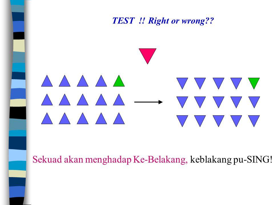 Sekuad akan menghadap Ke-Belakang, keblakang pu-SING! TEST !! Right or wrong