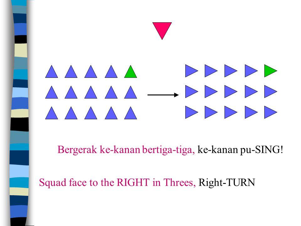 Bergerak ke-kiri bertiga-tiga, ke-belakang pu-SING ! Squad face to the LEFT in Threes, About-TURN