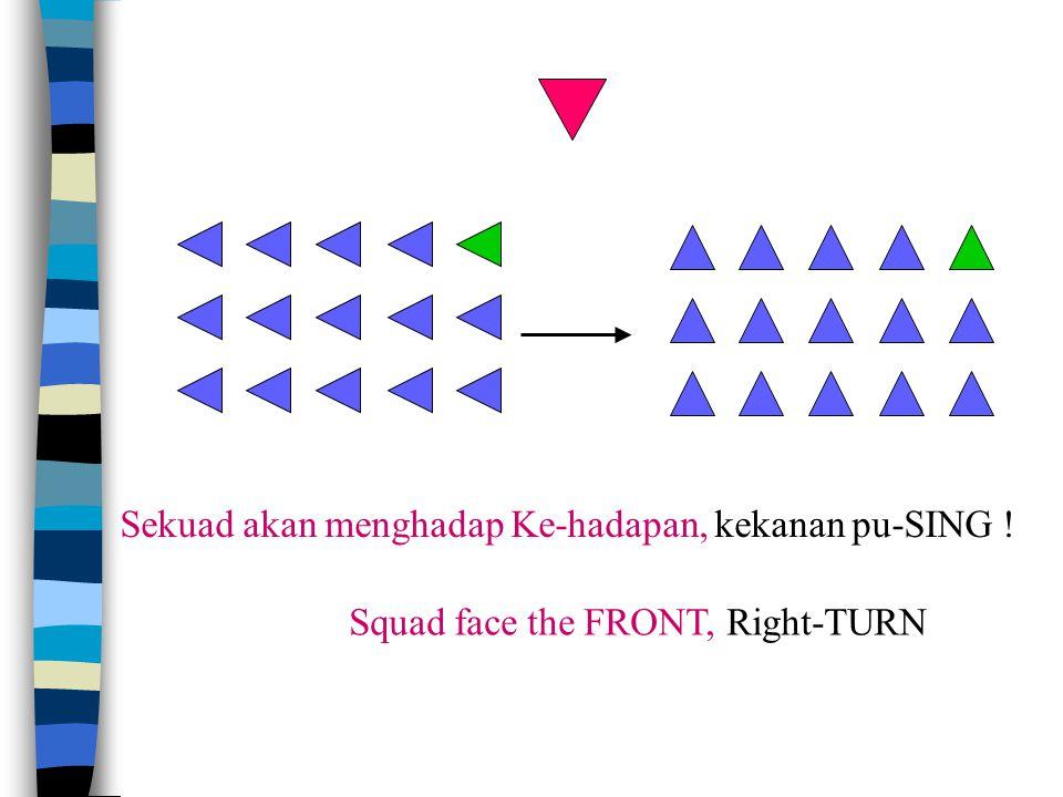 FRONT = ke hadapan BACK = ke belakang RIGHT II Ke-Kanan LEFT II Ke-Kiri Sekuad akan menghadap ke-hadapan / ke-belakang Bergerak ke-kanan bertiga-tiga Bergerak ke-kiri bertiga-tiga