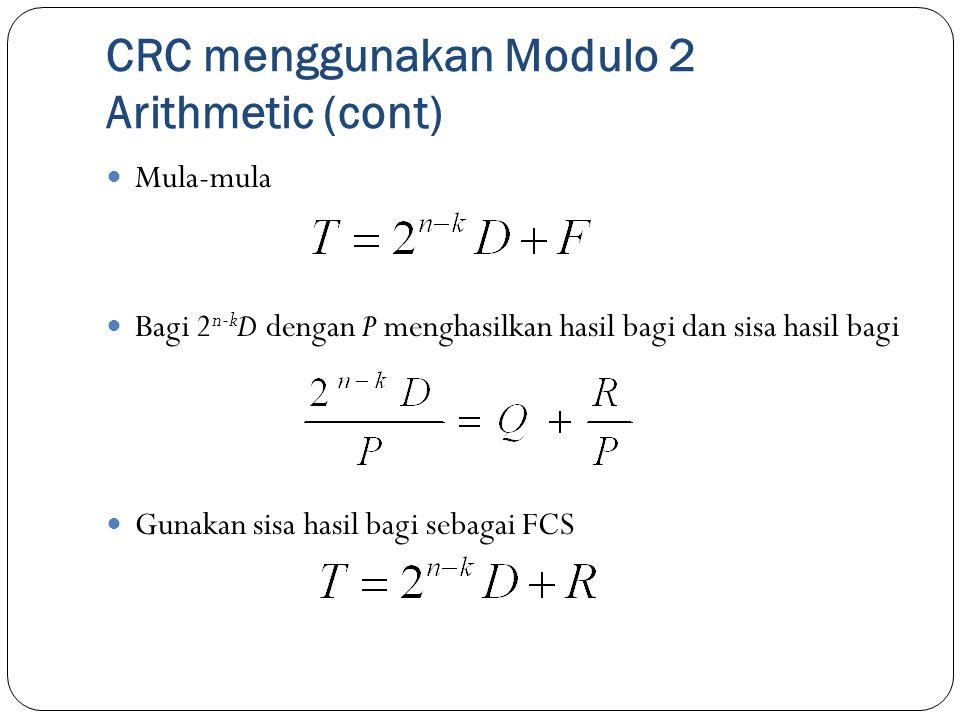 CRC menggunakan Modulo 2 Arithmetic (cont) Mula-mula Bagi 2 n-k D dengan P menghasilkan hasil bagi dan sisa hasil bagi Gunakan sisa hasil bagi sebagai