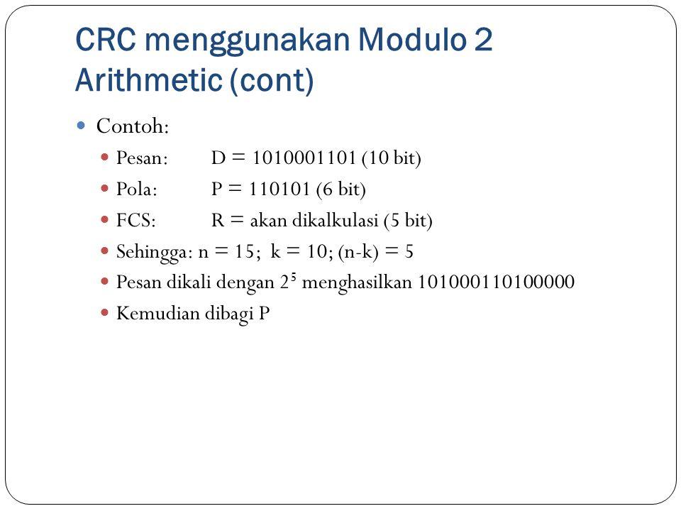 CRC menggunakan Modulo 2 Arithmetic (cont) Contoh: Pesan: D = 1010001101 (10 bit) Pola: P = 110101 (6 bit) FCS: R = akan dikalkulasi (5 bit) Sehingga: