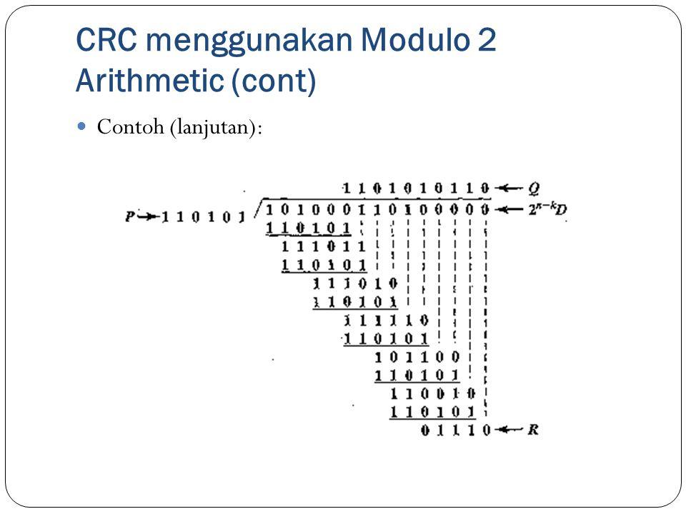 CRC menggunakan Modulo 2 Arithmetic (cont) Contoh (lanjutan):