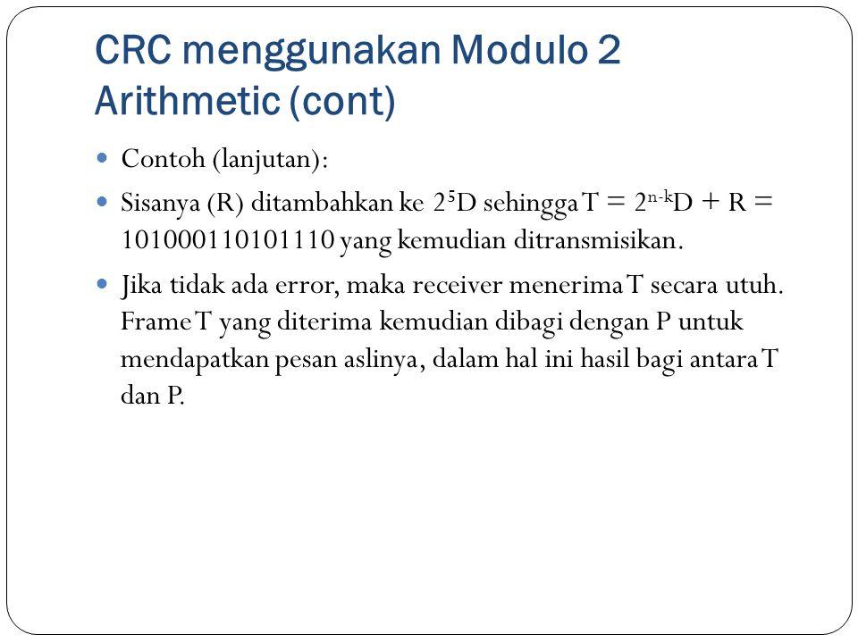 CRC menggunakan Modulo 2 Arithmetic (cont) Contoh (lanjutan): Sisanya (R) ditambahkan ke 2 5 D sehingga T = 2 n-k D + R = 101000110101110 yang kemudia