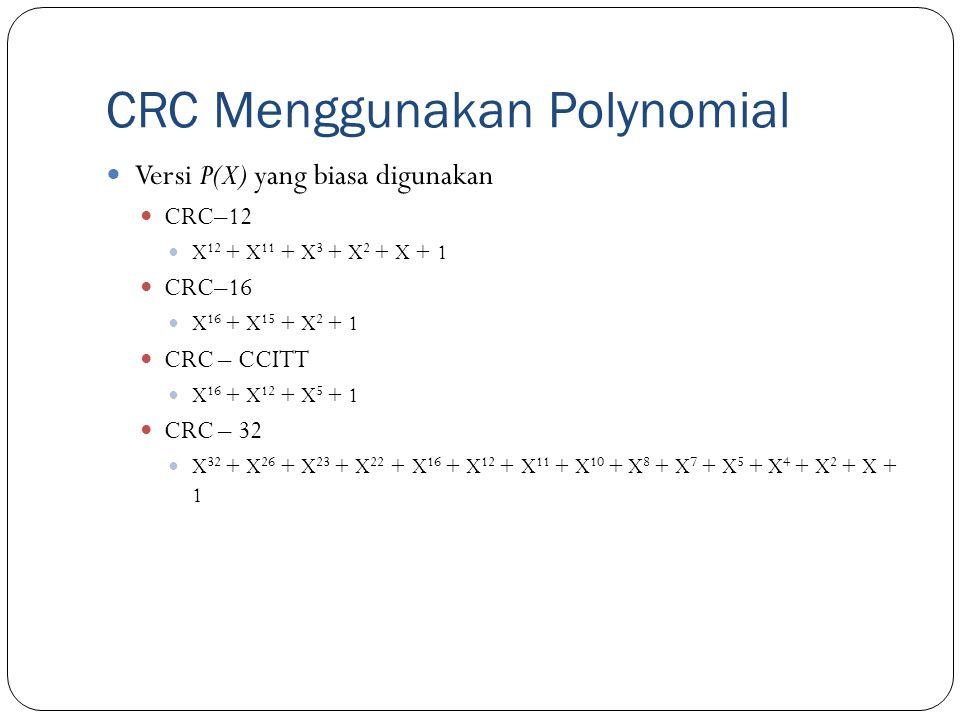 CRC Menggunakan Polynomial Versi P(X) yang biasa digunakan CRC–12 X 12 + X 11 + X 3 + X 2 + X + 1 CRC–16 X 16 + X 15 + X 2 + 1 CRC – CCITT X 16 + X 12