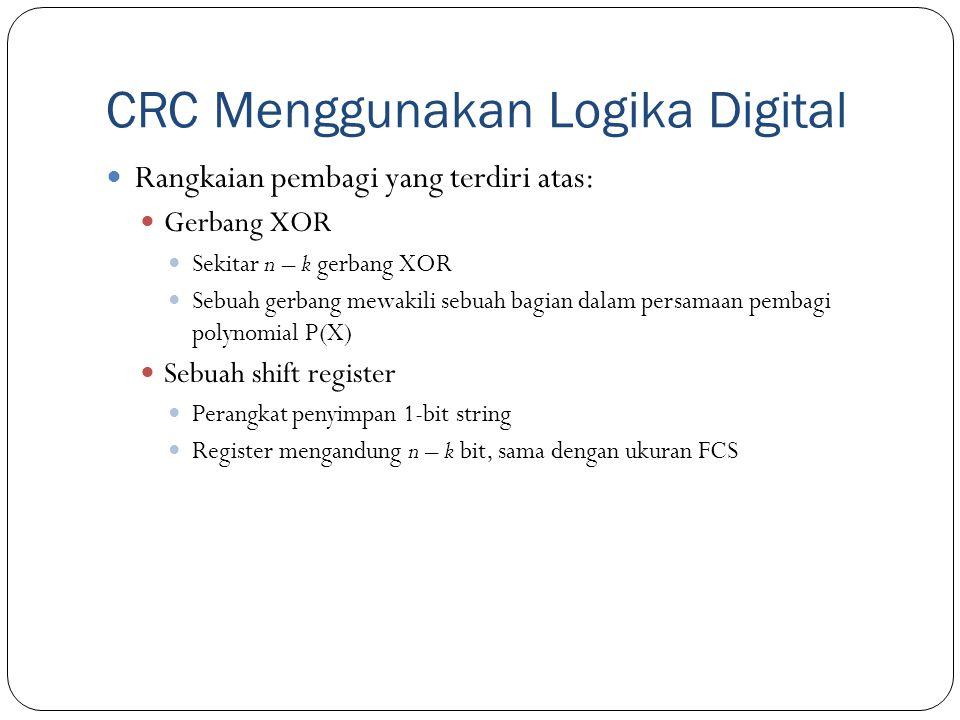 CRC Menggunakan Logika Digital Rangkaian pembagi yang terdiri atas: Gerbang XOR Sekitar n – k gerbang XOR Sebuah gerbang mewakili sebuah bagian dalam