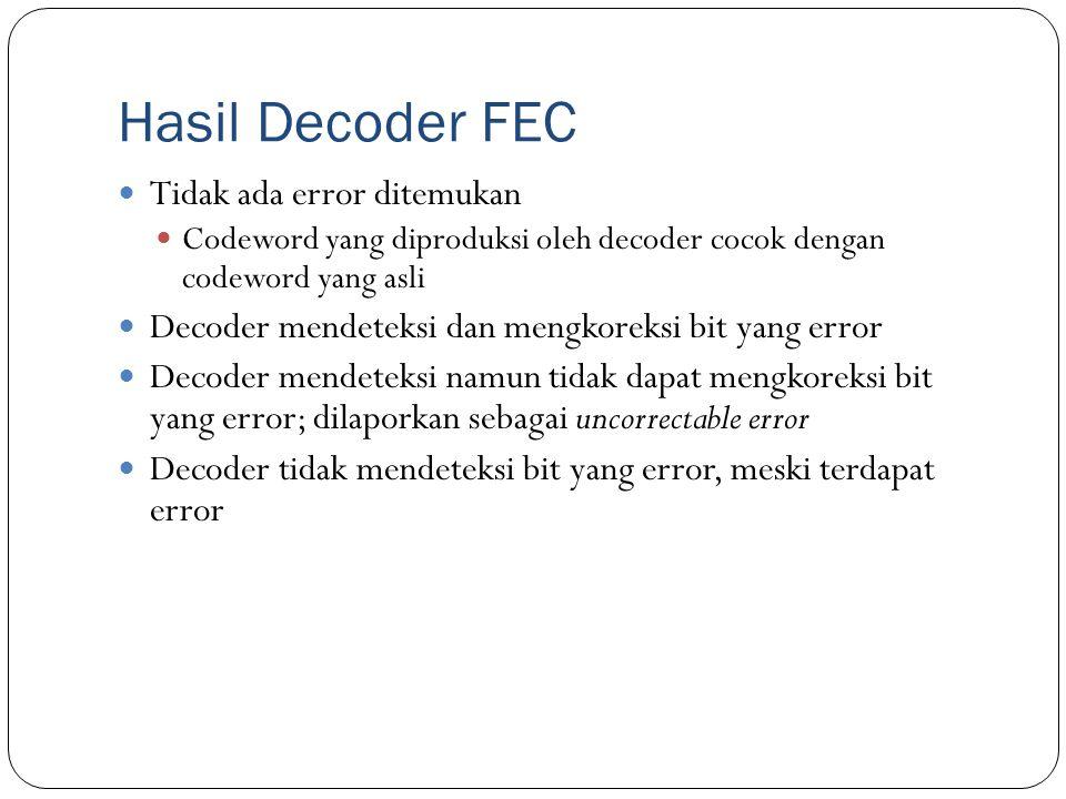 Hasil Decoder FEC Tidak ada error ditemukan Codeword yang diproduksi oleh decoder cocok dengan codeword yang asli Decoder mendeteksi dan mengkoreksi b