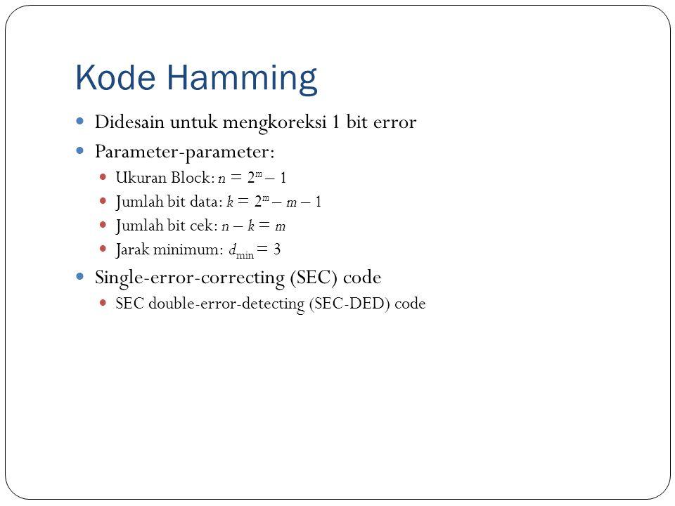 Kode Hamming Didesain untuk mengkoreksi 1 bit error Parameter-parameter: Ukuran Block: n = 2 m – 1 Jumlah bit data: k = 2 m – m – 1 Jumlah bit cek: n