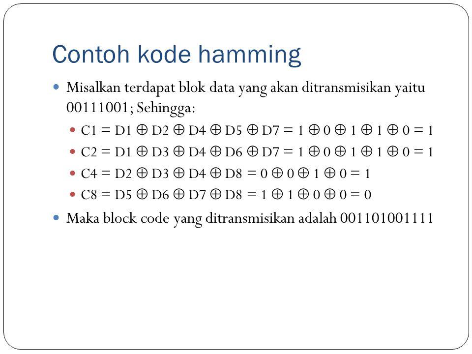 Contoh kode hamming Misalkan terdapat blok data yang akan ditransmisikan yaitu 00111001; Sehingga: C1 = D1  D2  D4  D5  D7 = 1  0  1  1  0 = 1