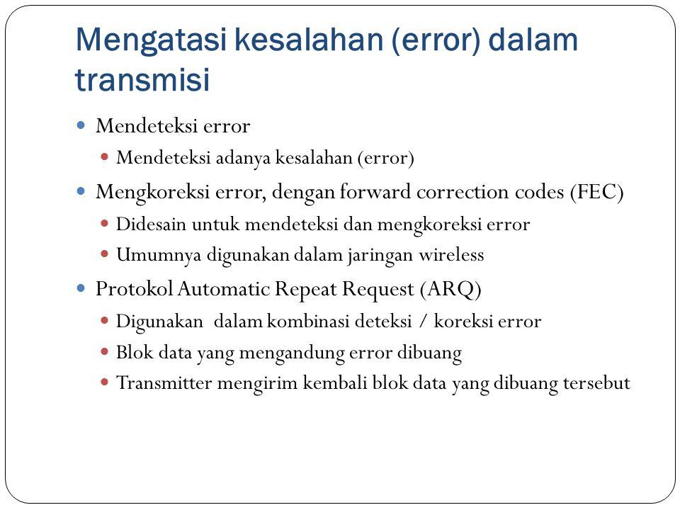 Mengatasi kesalahan (error) dalam transmisi Mendeteksi error Mendeteksi adanya kesalahan (error) Mengkoreksi error, dengan forward correction codes (F