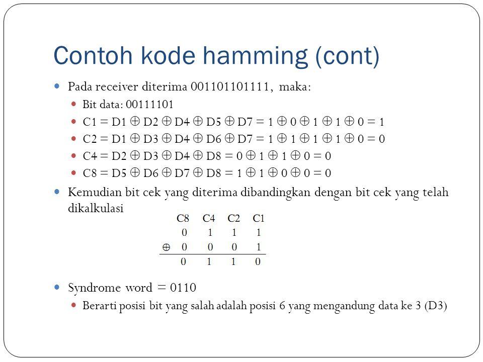 Contoh kode hamming (cont) Pada receiver diterima 001101101111, maka: Bit data: 00111101 C1 = D1  D2  D4  D5  D7 = 1  0  1  1  0 = 1 C2 = D1 