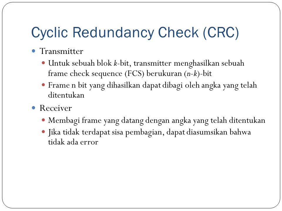 Cyclic Redundancy Check (CRC) Transmitter Untuk sebuah blok k-bit, transmitter menghasilkan sebuah frame check sequence (FCS) berukuran (n-k)-bit Fram