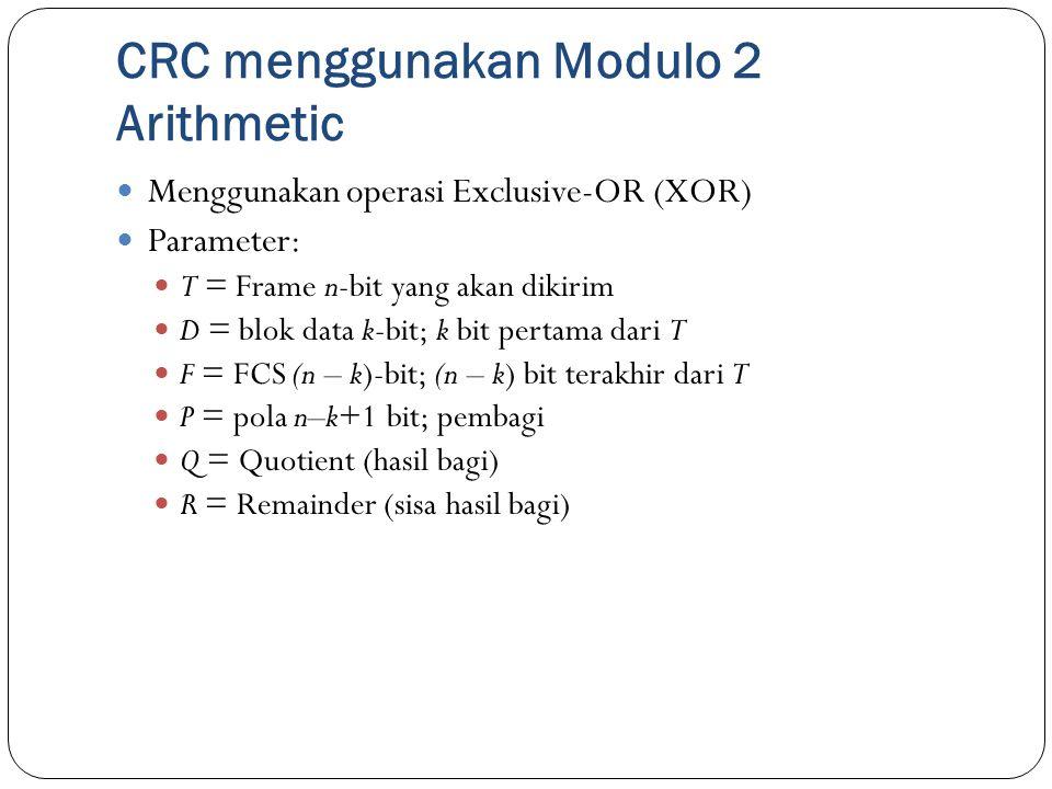 CRC menggunakan Modulo 2 Arithmetic Menggunakan operasi Exclusive-OR (XOR) Parameter: T = Frame n-bit yang akan dikirim D = blok data k-bit; k bit per