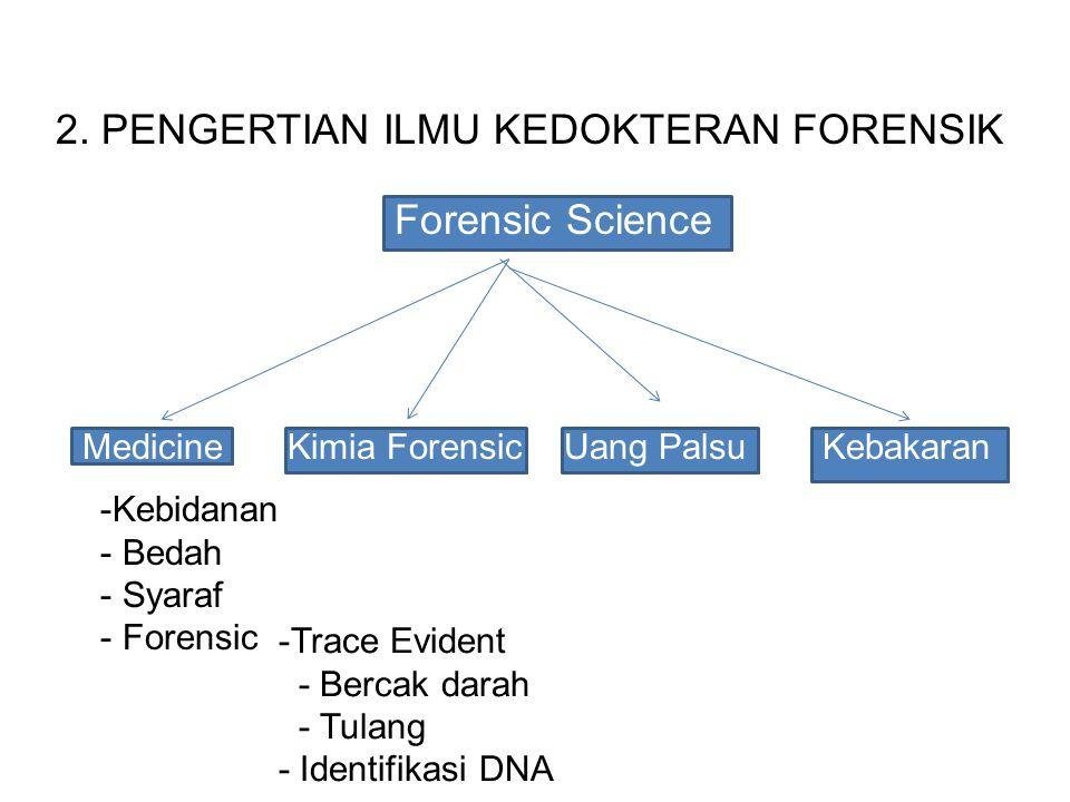 Forensic Science MedicineUang PalsuKebakaranKimia Forensic -Kebidanan - Bedah - Syaraf - Forensic -Trace Evident - Bercak darah - Tulang - Identifikasi DNA 2.