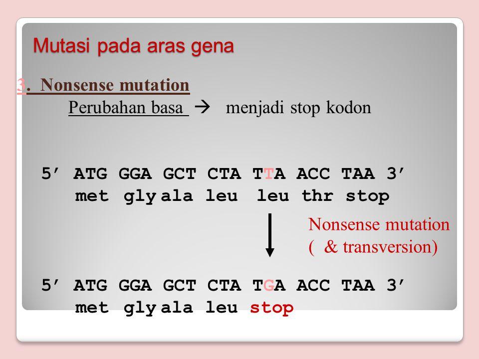 2.Missense mutation Perubahan basa  Perubahan kodon 5' ATG GGA GCT CTA TTA ACC TAA 3' met glyala leuleu thr stop 5' ATG GGA GCT CTA TTT ACC TAA 3' met glyala leuphe thr stop Mutasi pada aras gena Missense mutation ( transversi)