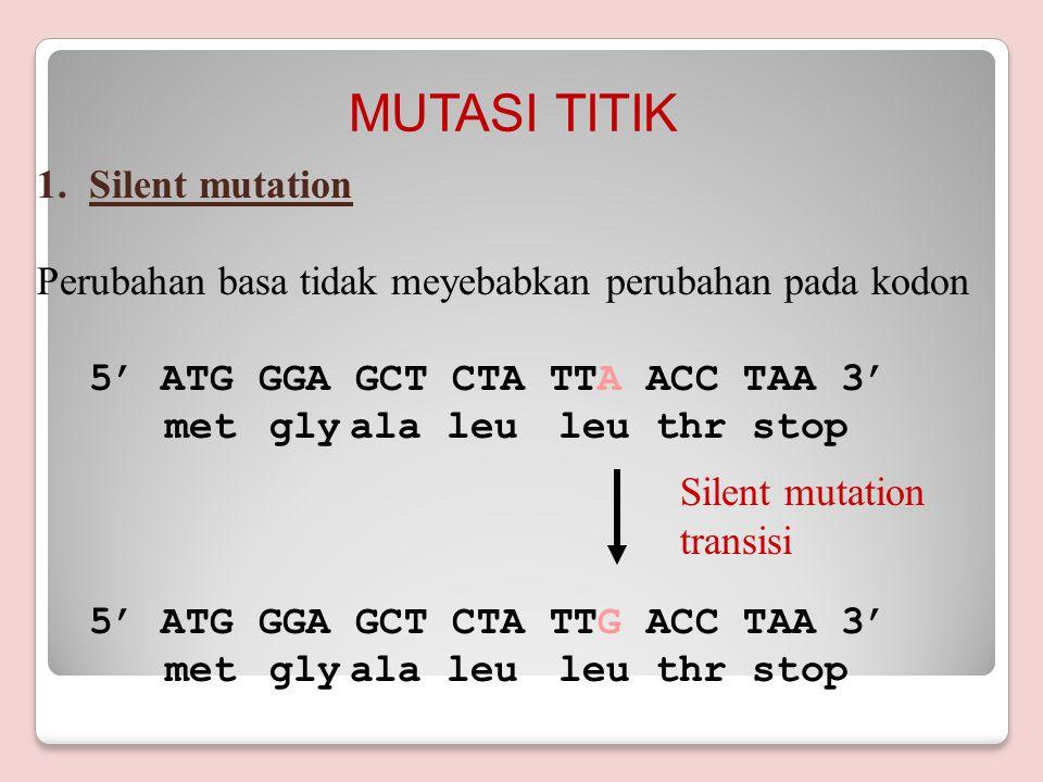 Tipe mutasi A.Point mutation/Mutasi Titik a.