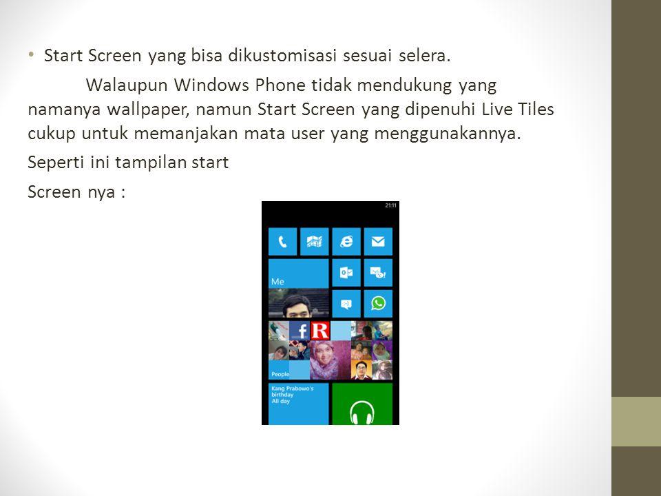 Start Screen yang bisa dikustomisasi sesuai selera.
