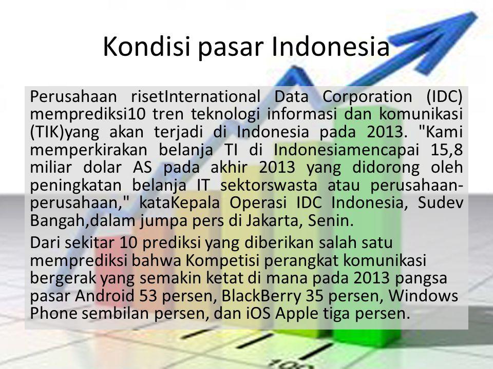 Kondisi pasar Indonesia Perusahaan risetInternational Data Corporation (IDC) memprediksi10 tren teknologi informasi dan komunikasi (TIK)yang akan terj