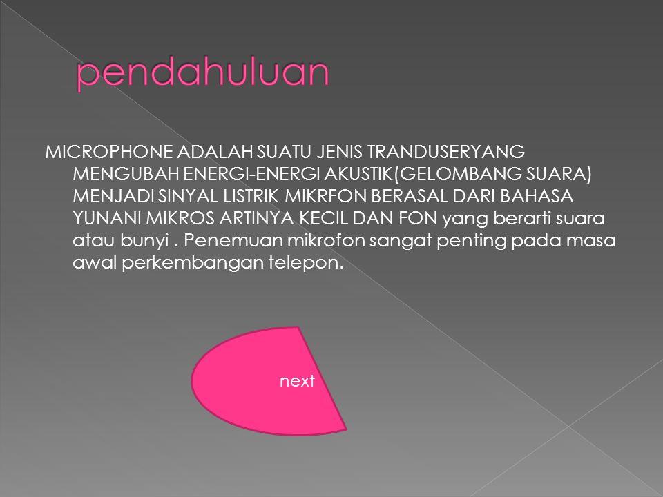 MICROPHONE ADALAH SUATU JENIS TRANDUSERYANG MENGUBAH ENERGI-ENERGI AKUSTIK(GELOMBANG SUARA) MENJADI SINYAL LISTRIK MIKRFON BERASAL DARI BAHASA YUNANI