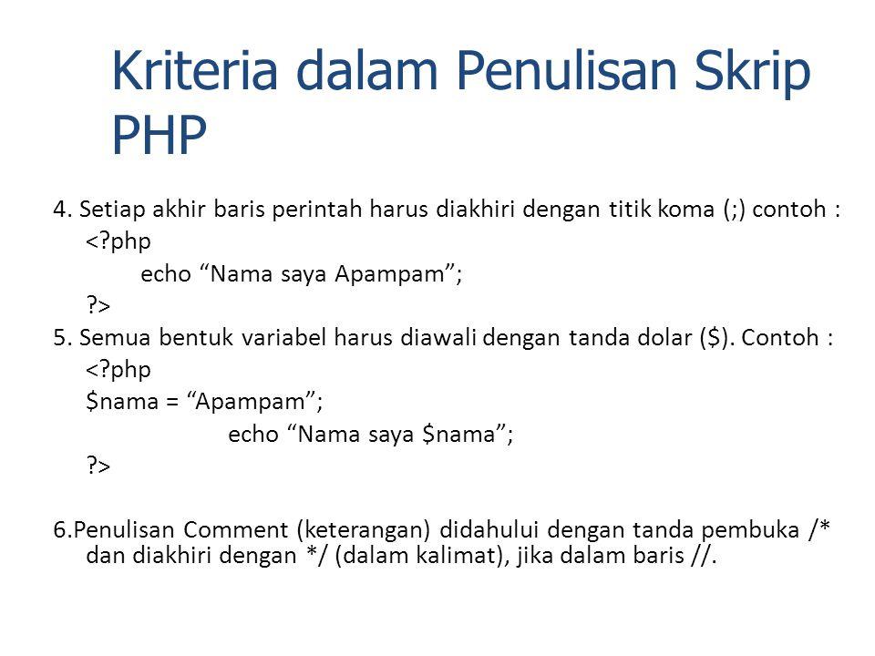 """4. Setiap akhir baris perintah harus diakhiri dengan titik koma (;) contoh : <?php echo """"Nama saya Apampam""""; ?> 5. Semua bentuk variabel harus diawali"""