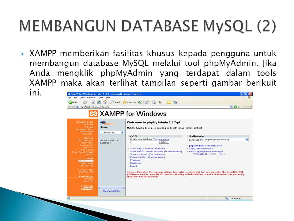  XAMPP memberikan fasilitas khusus kepada pengguna untuk membangun database MySQL melalui tool phpMyAdmin. Jika Anda mengklik phpMyAdmin yang terdapa