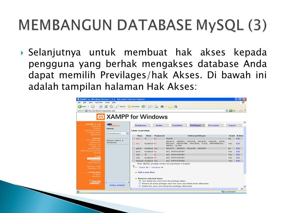  Selanjutnya untuk membuat hak akses kepada pengguna yang berhak mengakses database Anda dapat memilih Previlages/hak Akses. Di bawah ini adalah tamp