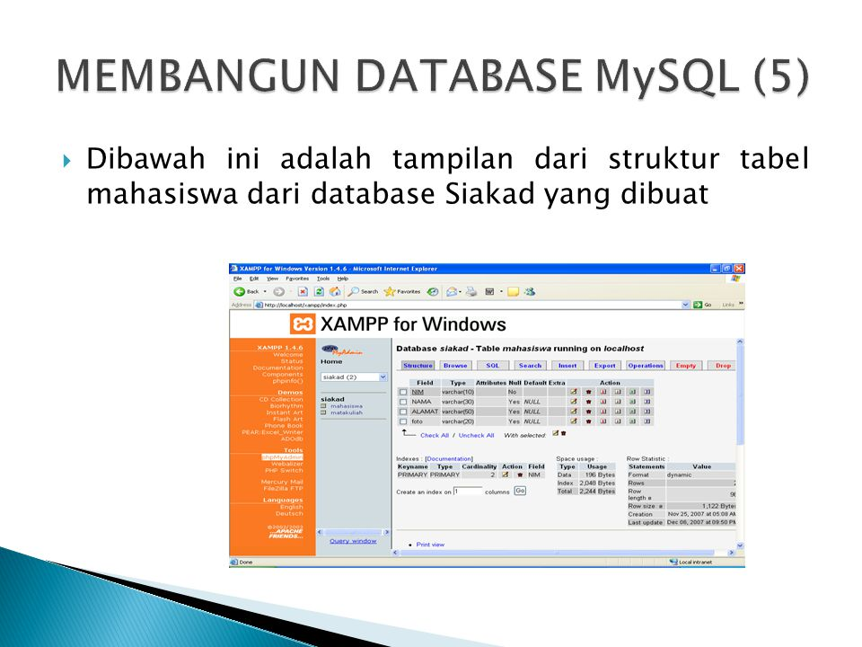  Dibawah ini adalah tampilan dari struktur tabel mahasiswa dari database Siakad yang dibuat