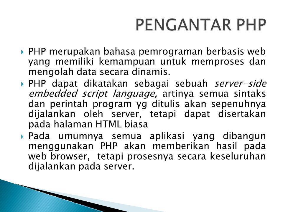  PHP merupakan bahasa pemrograman berbasis web yang memiliki kemampuan untuk memproses dan mengolah data secara dinamis.  PHP dapat dikatakan sebaga