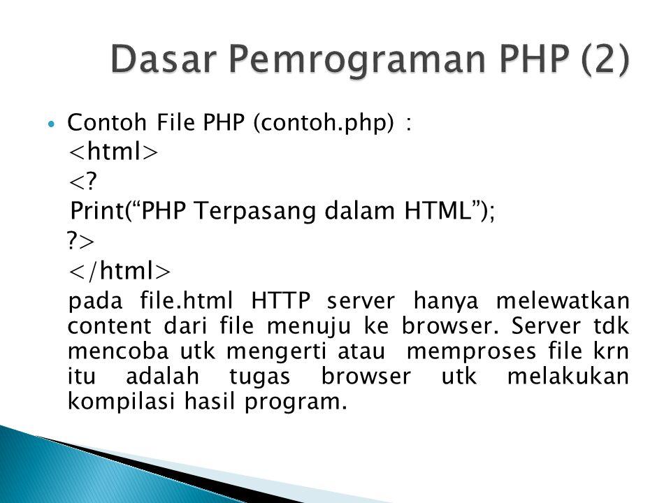 File berekstensi.php akan ditangani scr berbeda, file yg memiliki kode php akan diperiksa.