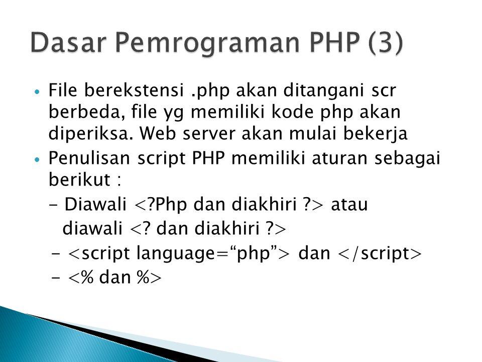 File berekstensi.php akan ditangani scr berbeda, file yg memiliki kode php akan diperiksa. Web server akan mulai bekerja Penulisan script PHP memiliki