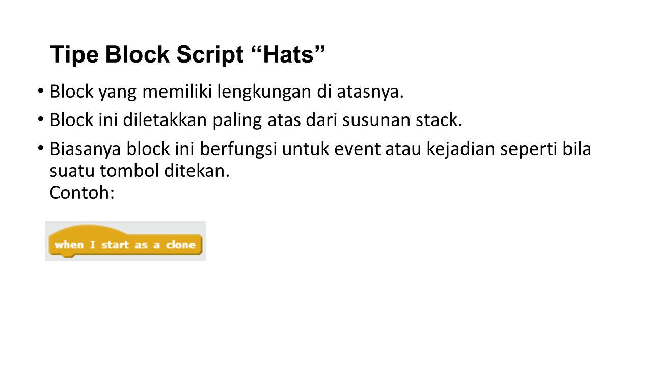 Tipe Block Script Hats Block yang memiliki lengkungan di atasnya.