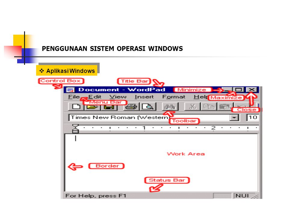  Aplikasi Windows PENGGUNAAN SISTEM OPERASI WINDOWS