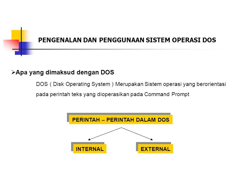 PENGENALAN DAN PENGGUNAAN SISTEM OPERASI DOS  Apa yang dimaksud dengan DOS DOS ( Disk Operating System ) Merupakan Sistem operasi yang berorientasi pada perintah teks yang dioperasikan pada Command Prompt INTERNAL EXTERNAL PERINTAH – PERINTAH DALAM DOS