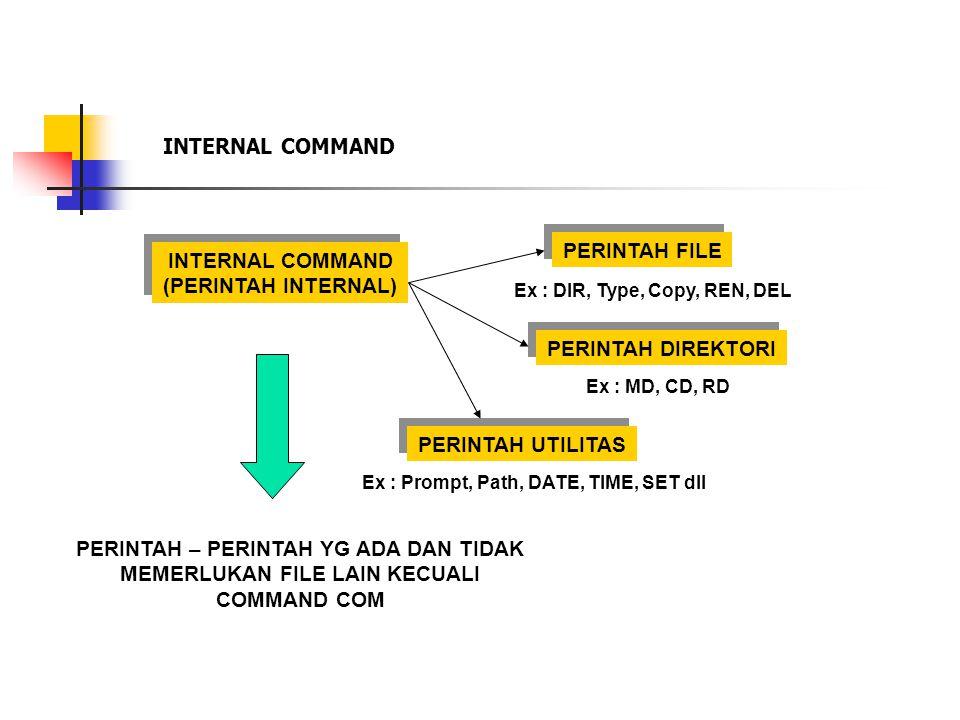 INTERNAL COMMAND (PERINTAH INTERNAL) INTERNAL COMMAND (PERINTAH INTERNAL) PERINTAH FILE PERINTAH DIREKTORI PERINTAH UTILITAS PERINTAH – PERINTAH YG ADA DAN TIDAK MEMERLUKAN FILE LAIN KECUALI COMMAND COM Ex : DIR, Type, Copy, REN, DEL Ex : MD, CD, RD Ex : Prompt, Path, DATE, TIME, SET dll INTERNAL COMMAND