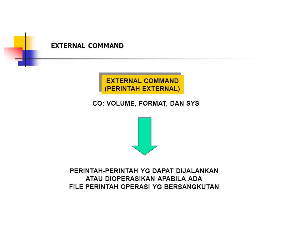 EXTERNAL COMMAND (PERINTAH EXTERNAL) EXTERNAL COMMAND (PERINTAH EXTERNAL) PERINTAH-PERINTAH YG DAPAT DIJALANKAN ATAU DIOPERASIKAN APABILA ADA FILE PERINTAH OPERASI YG BERSANGKUTAN CO: VOLUME, FORMAT, DAN SYS