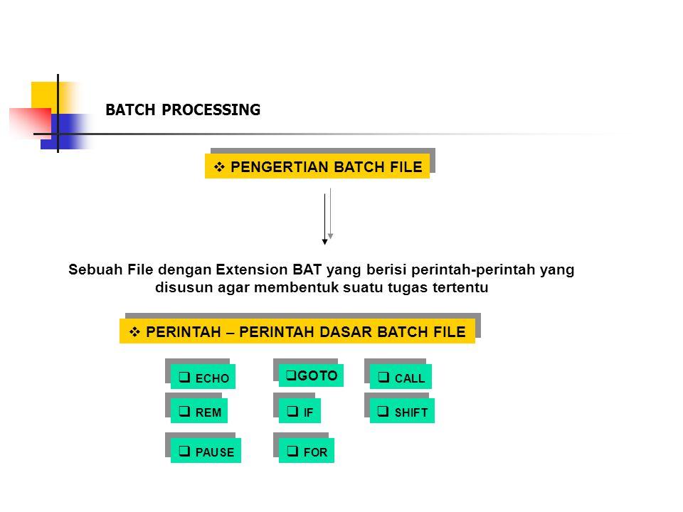 BATCH PROCESSING  PENGERTIAN BATCH FILE Sebuah File dengan Extension BAT yang berisi perintah-perintah yang disusun agar membentuk suatu tugas terten